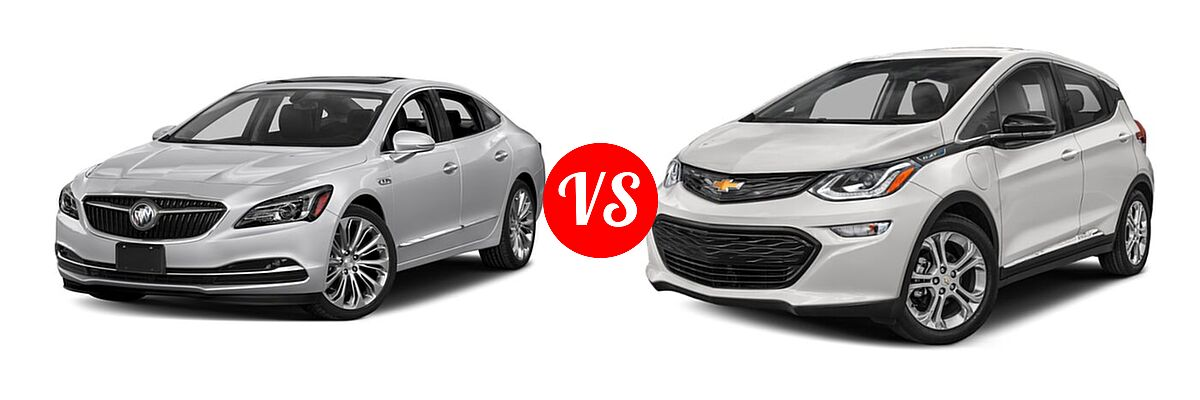 2018 Buick LaCrosse Sedan Hybrid Essence / Preferred / Premium vs. 2021 Chevrolet Bolt EV Hatchback Electric LT - Front Left Comparison