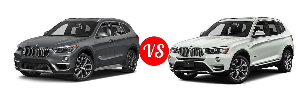 2017 BMW X1 SUV sDrive28i / xDrive28i vs. 2017 BMW X3 SUV Diesel xDrive28d - Front Left Comparison