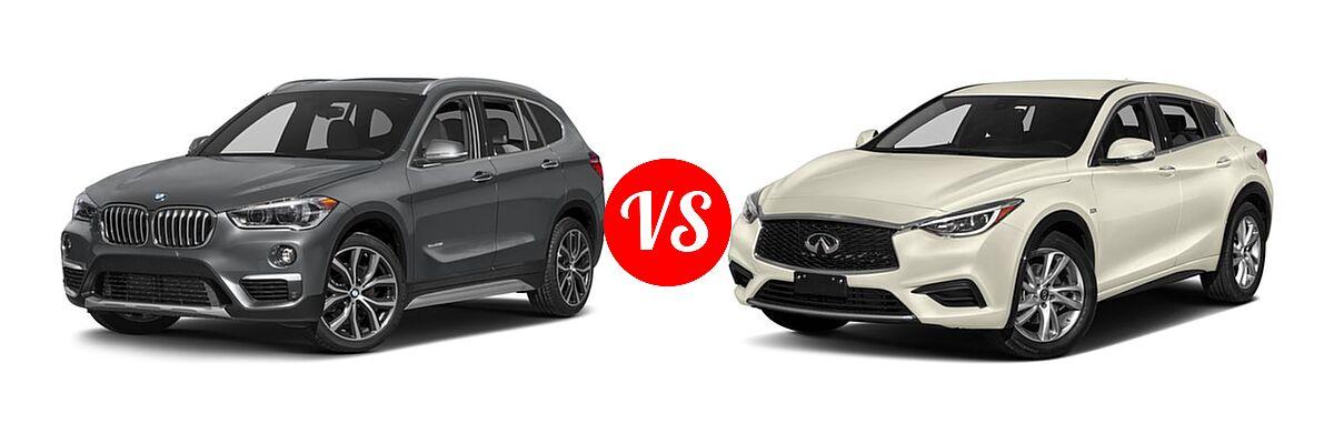 2017 BMW X1 SUV sDrive28i / xDrive28i vs. 2017 Infiniti QX30 SUV FWD / Luxury / Premium / Sport - Front Left Comparison