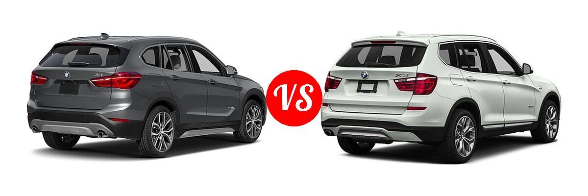 2017 BMW X1 SUV sDrive28i / xDrive28i vs. 2017 BMW X3 SUV Diesel xDrive28d - Rear Right Comparison