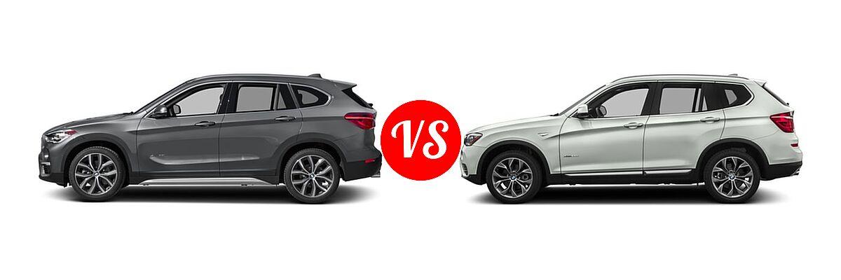 2017 BMW X1 SUV sDrive28i / xDrive28i vs. 2017 BMW X3 SUV Diesel xDrive28d - Side Comparison