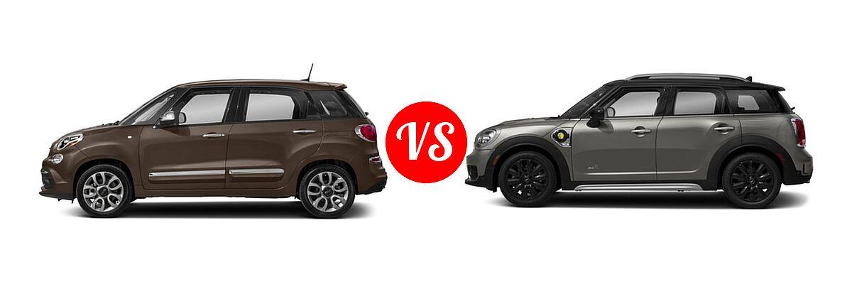 2018 FIAT 500L Wagon Lounge / Pop vs. 2018 MINI Countryman Wagon Hybrid Cooper S E - Side Comparison