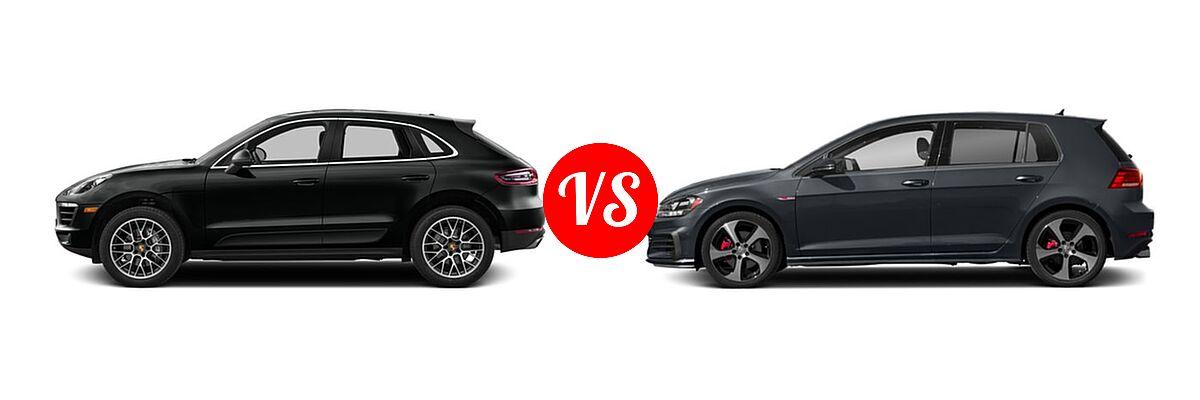 2017 Porsche Macan SUV GTS / S / Turbo vs. 2018 Volkswagen Golf GTI Hatchback Autobahn / S / SE - Side Comparison