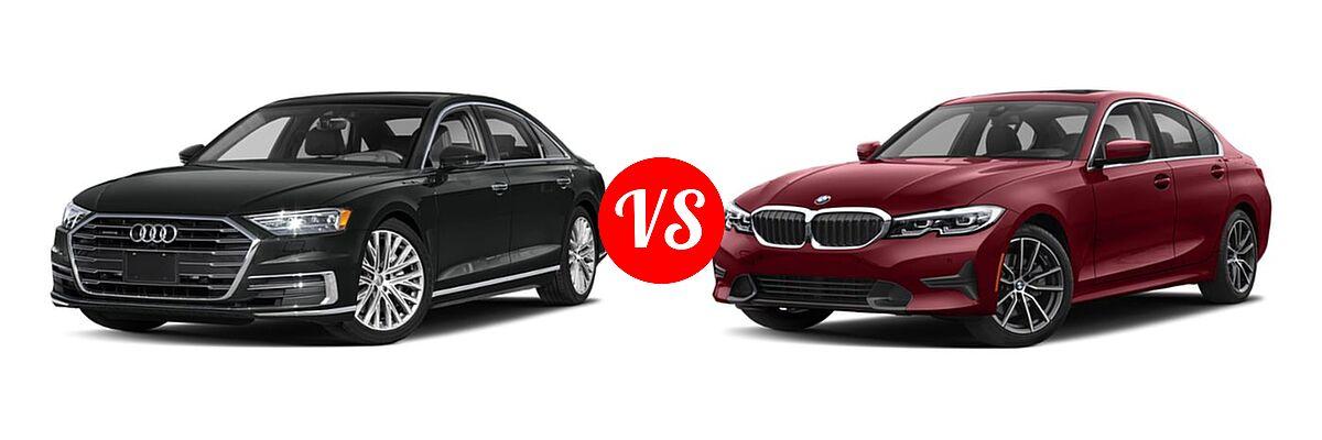 2019 Audi A8 Sedan 3.0 TFSI vs. 2019 BMW 3 Series Sedan 330i / 330i xDrive - Front Left Comparison