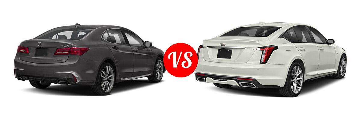 2019 Acura TLX Sedan w/Advance Pkg vs. 2020 Cadillac CT5 Sedan Luxury / Premium Luxury / Sport - Rear Right Comparison