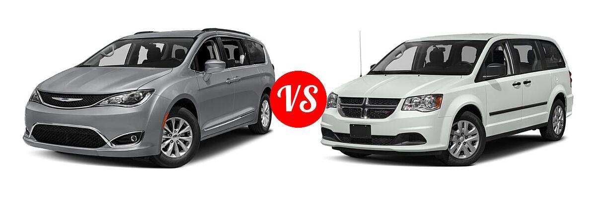 2019 Chrysler Pacifica Minivan Limited / Touring L / Touring L Plus / Touring Plus vs. 2019 Dodge Grand Caravan Minivan SE Plus - Front Left Comparison