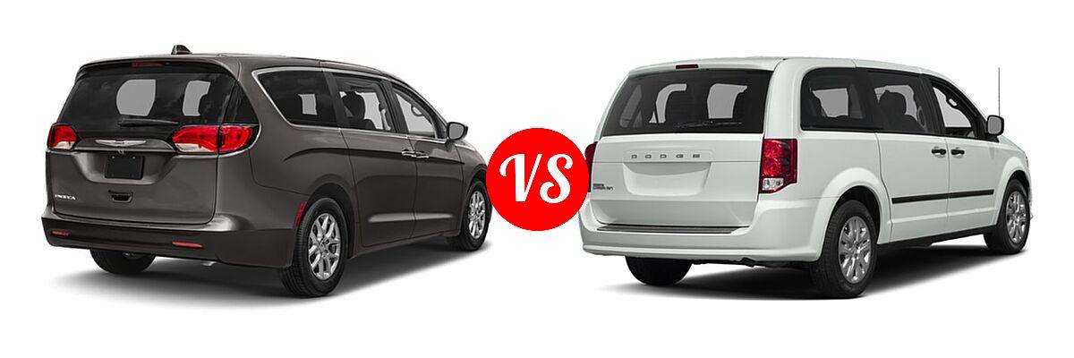 2019 Chrysler Pacifica Minivan L / LX vs. 2019 Dodge Grand Caravan Minivan SE / SXT - Rear Right Comparison