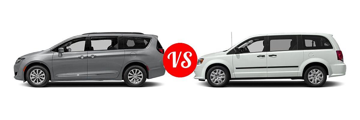 2019 Chrysler Pacifica Minivan Limited / Touring L / Touring L Plus / Touring Plus vs. 2019 Dodge Grand Caravan Minivan SE Plus - Side Comparison