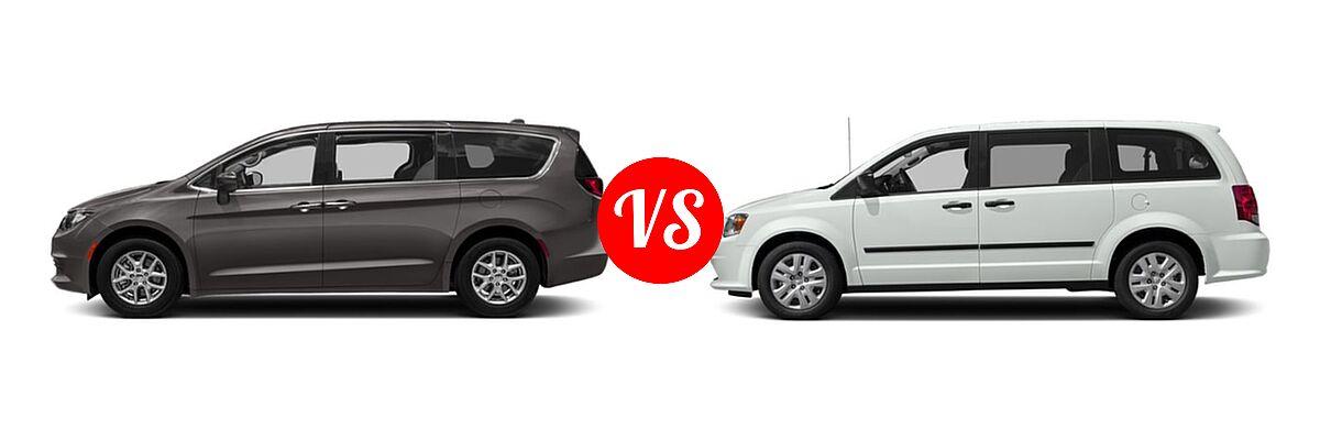 2019 Chrysler Pacifica Minivan L / LX vs. 2019 Dodge Grand Caravan Minivan SE / SXT - Side Comparison