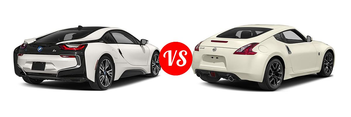 2019 BMW i8 Coupe PHEV Coupe vs. 2019 Nissan 370Z Coupe Auto / Manual / Sport / Sport Touring - Rear Right Comparison