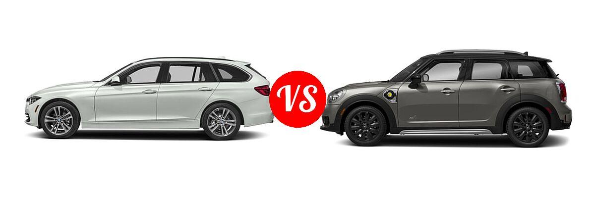 2019 BMW 3 Series Wagon 330i xDrive vs. 2019 MINI Countryman Wagon PHEV Cooper S E - Side Comparison