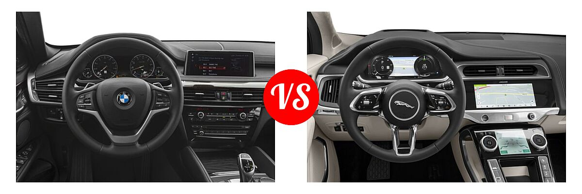 2019 BMW X6 SUV sDrive35i / xDrive35i / xDrive50i vs. 2019 Jaguar I-PACE SUV Electric First Edition / HSE / S / SE - Dashboard Comparison