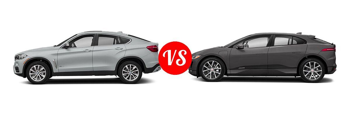 2019 BMW X6 SUV sDrive35i / xDrive35i / xDrive50i vs. 2019 Jaguar I-PACE SUV Electric First Edition / HSE / S / SE - Side Comparison