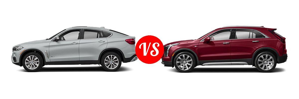 2019 BMW X6 SUV sDrive35i / xDrive35i / xDrive50i vs. 2019 Cadillac XT4 SUV AWD Luxury / AWD Premium Luxury / AWD Sport / FWD Luxury / FWD Premium Luxury / FWD Sport - Side Comparison