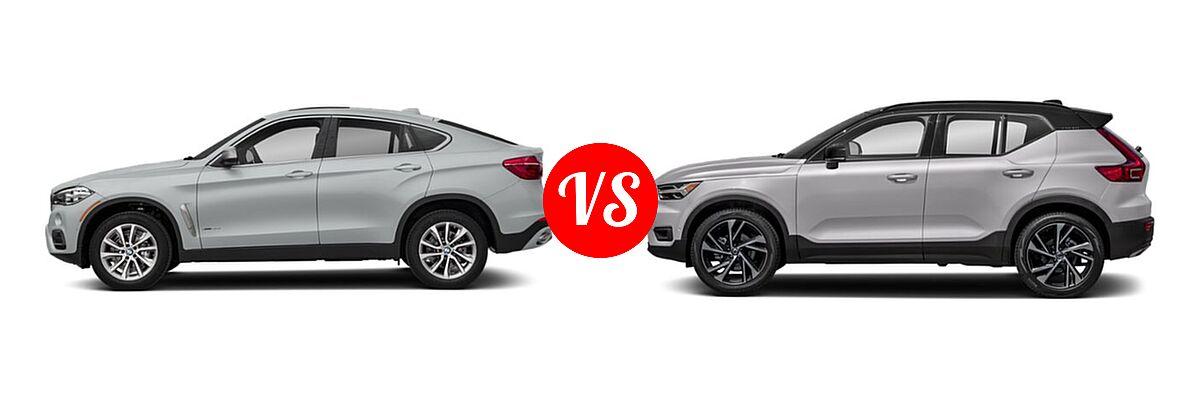 2019 BMW X6 SUV sDrive35i / xDrive35i / xDrive50i vs. 2019 Volvo XC40 SUV R-Design - Side Comparison