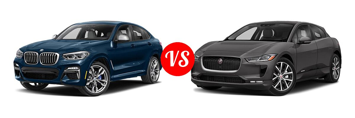 2019 BMW X4 M40i SUV M40i vs. 2019 Jaguar I-PACE SUV Electric First Edition / HSE / S / SE - Front Left Comparison