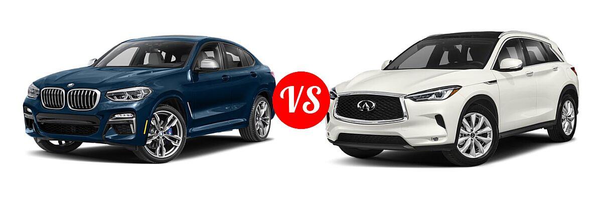 2019 BMW X4 M40i SUV M40i vs. 2019 Infiniti QX50 SUV ESSENTIAL / LUXE / PURE - Front Left Comparison