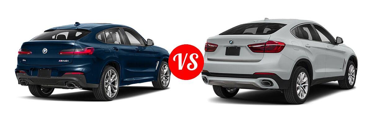 2019 BMW X4 M40i SUV M40i vs. 2019 BMW X6 SUV sDrive35i / xDrive35i / xDrive50i - Rear Right Comparison