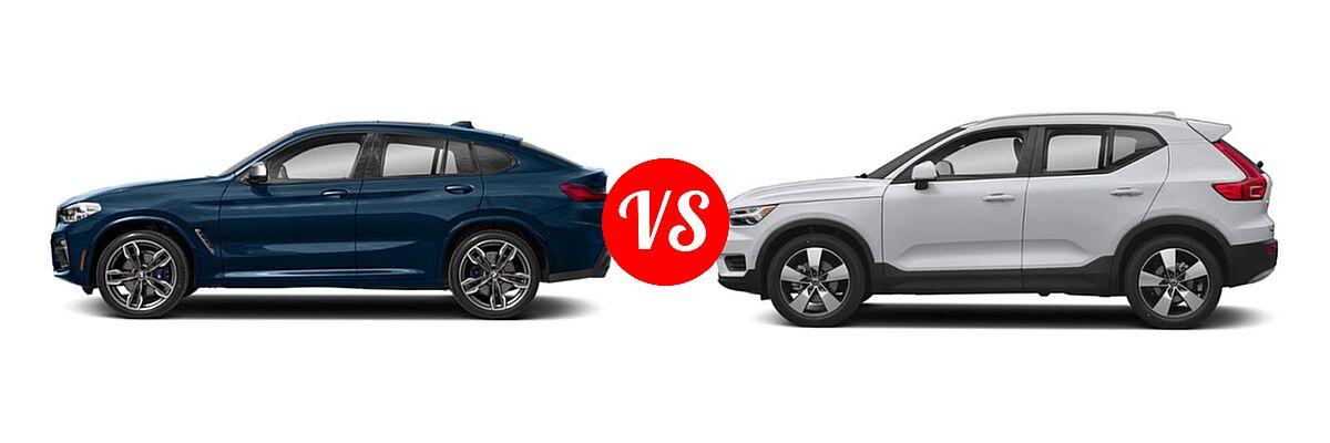 2019 BMW X4 M40i SUV M40i vs. 2019 Volvo XC40 SUV Momentum / R-Design - Side Comparison