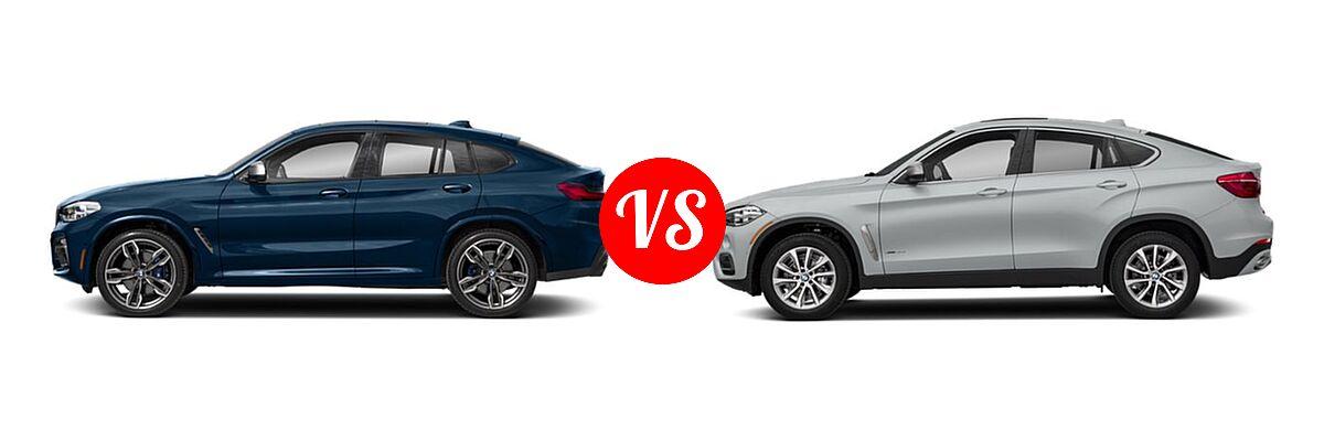2019 BMW X4 M40i SUV M40i vs. 2019 BMW X6 SUV sDrive35i / xDrive35i / xDrive50i - Side Comparison