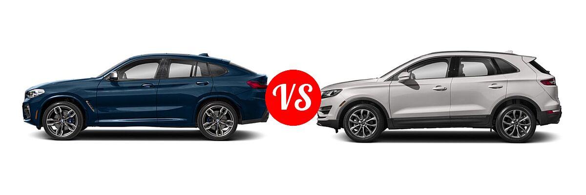 2019 BMW X4 M40i SUV M40i vs. 2019 Lincoln MKC SUV Black Label / FWD / Reserve / Select / Standard - Side Comparison