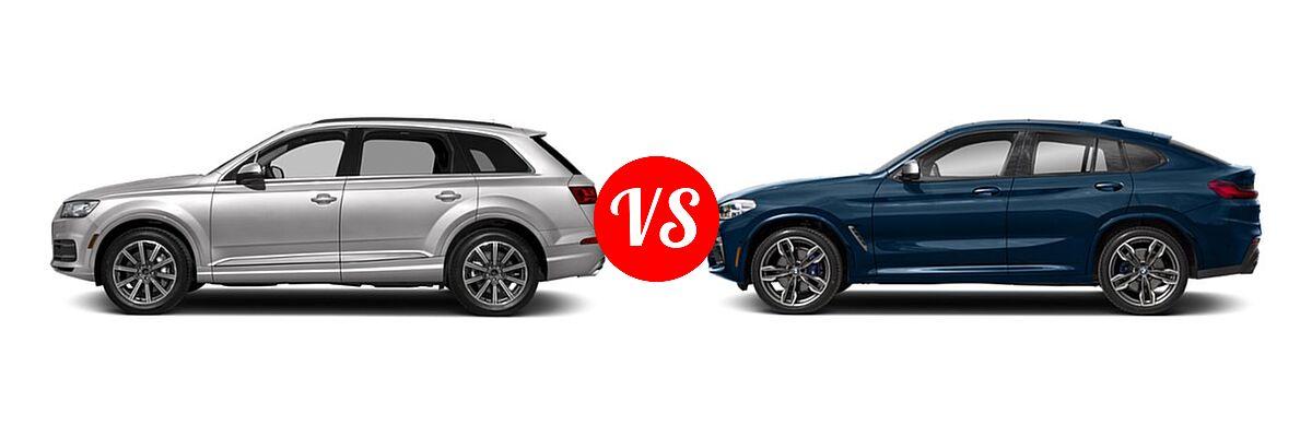 2019 Audi Q7 SUV Premium / Premium Plus / Prestige vs. 2019 BMW X4 M40i SUV M40i - Side Comparison