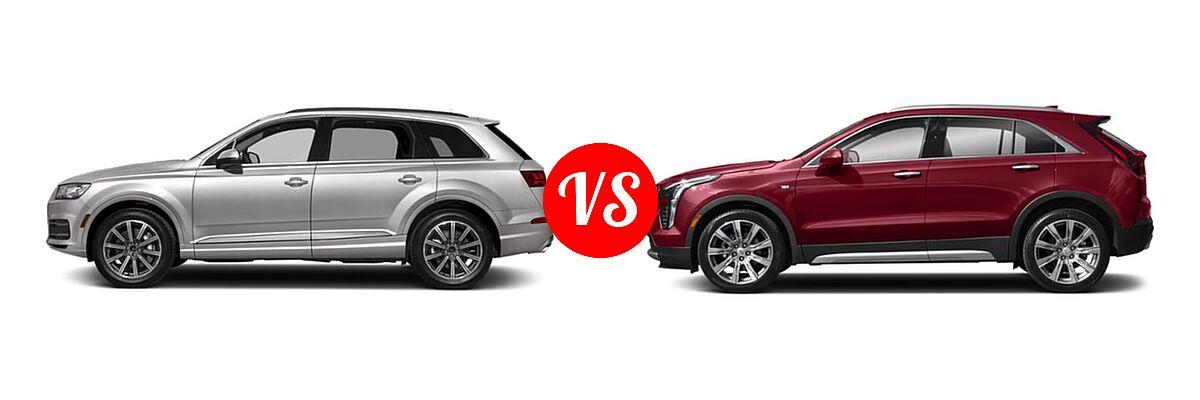 2019 Audi Q7 SUV Premium / Premium Plus / Prestige vs. 2019 Cadillac XT4 SUV AWD Luxury / AWD Premium Luxury / AWD Sport / FWD Luxury / FWD Premium Luxury / FWD Sport - Side Comparison