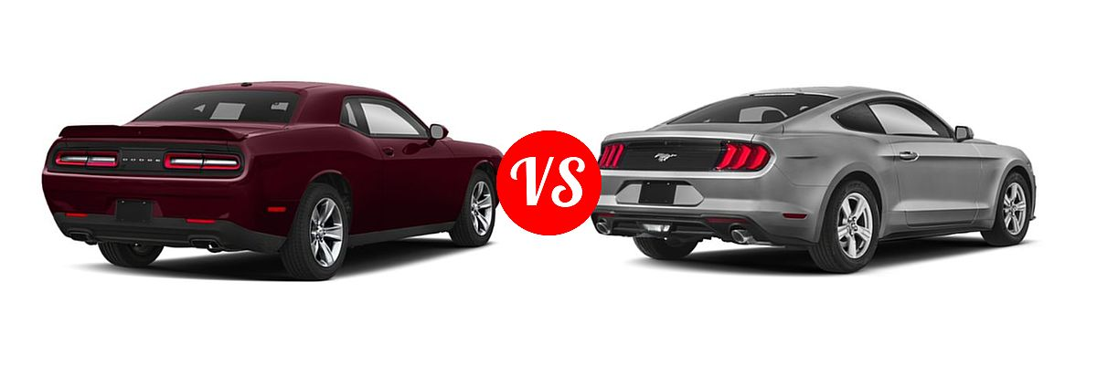 2019 Dodge Challenger Coupe GT / SXT vs. 2019 Ford Mustang Coupe EcoBoost / EcoBoost Premium / GT / GT Premium - Rear Right Comparison