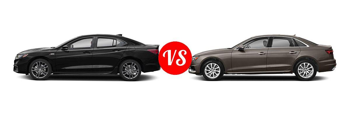 2019 Acura TLX Sedan w/A-SPEC Pkg / w/Technology Pkg vs. 2020 Audi A4 Sedan Premium / Premium Plus / Prestige - Side Comparison