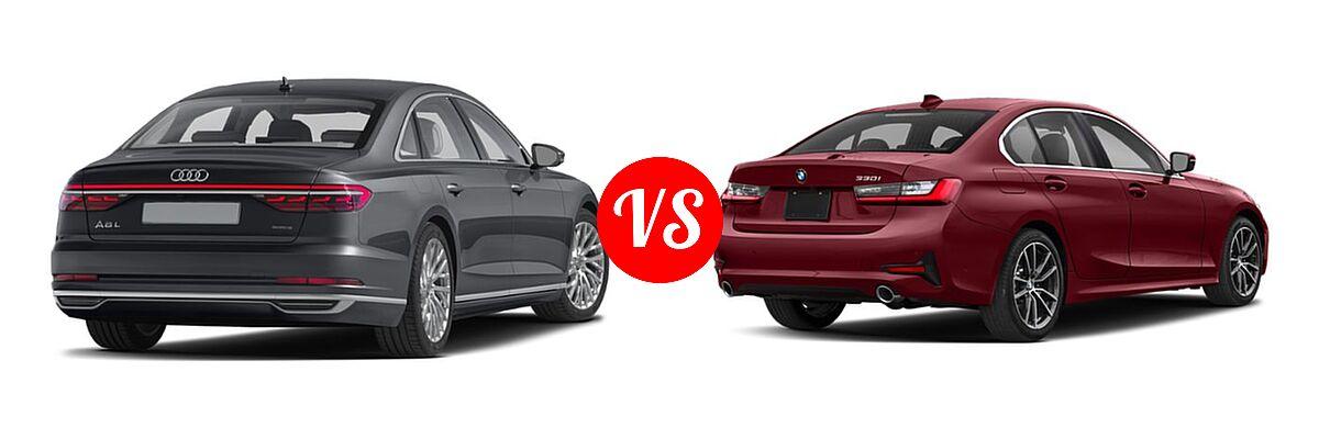 2019 Audi A8 Sedan 3.0 TFSI vs. 2019 BMW 3 Series Sedan 330i / 330i xDrive - Rear Right Comparison