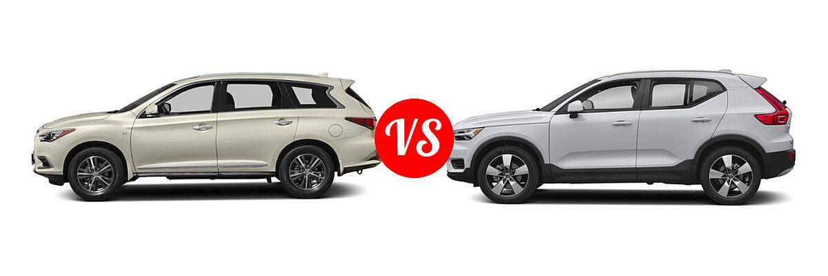 2019 Infiniti QX60 SUV LUXE / PURE vs. 2019 Volvo XC40 SUV Momentum / R-Design - Side Comparison