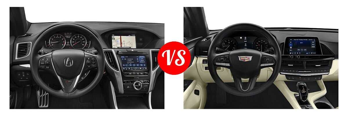 2019 Acura TLX Sedan w/A-SPEC Pkg Red Leather vs. 2021 Cadillac CT4 Sedan Luxury / Premium Luxury / Sport / V-Series - Dashboard Comparison