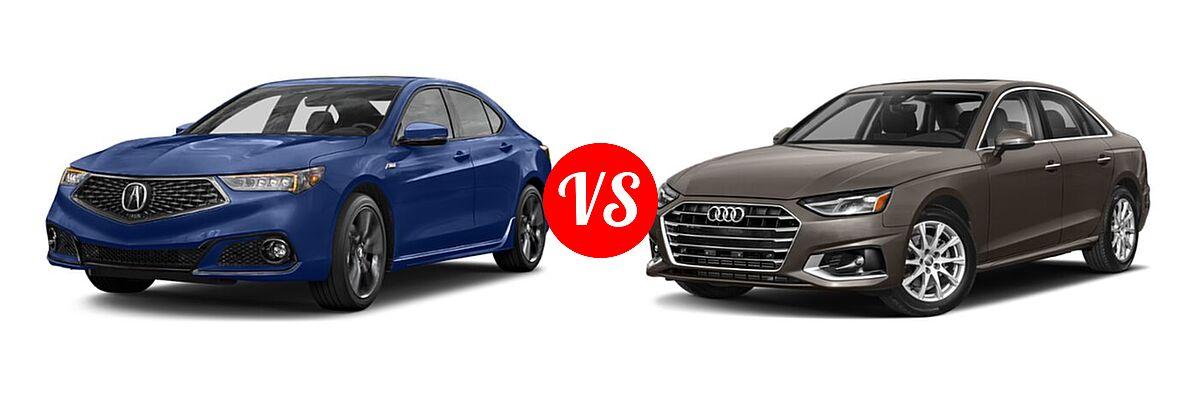 2019 Acura TLX Sedan w/Advance Pkg vs. 2020 Audi A4 Sedan Premium / Premium Plus / Prestige - Front Left Comparison