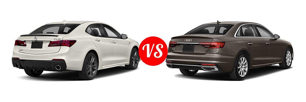 2019 Acura TLX Sedan w/A-SPEC Pkg vs. 2020 Audi A4 Sedan Premium / Premium Plus / Prestige - Rear Right Comparison
