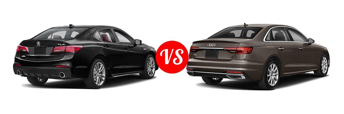 2019 Acura TLX Sedan w/A-SPEC Pkg Red Leather vs. 2020 Audi A4 Sedan Premium / Premium Plus / Prestige - Rear Right Comparison