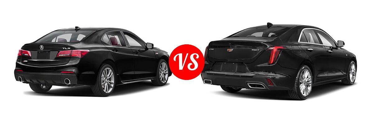 2019 Acura TLX Sedan w/A-SPEC Pkg Red Leather vs. 2021 Cadillac CT4 Sedan Luxury / Premium Luxury / Sport / V-Series - Rear Right Comparison