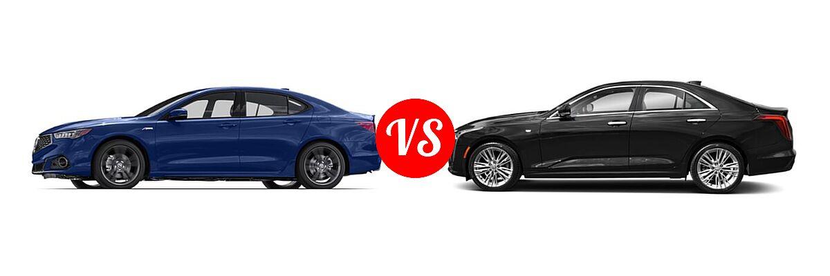 2019 Acura TLX Sedan w/Advance Pkg vs. 2021 Cadillac CT4 Sedan Premium Luxury - Side Comparison