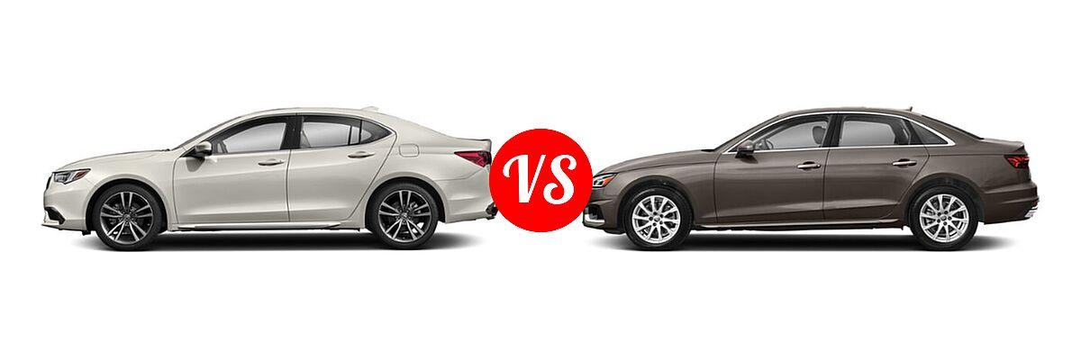 2019 Acura TLX Sedan w/Technology Pkg vs. 2020 Audi A4 Sedan Premium / Premium Plus / Prestige - Side Comparison