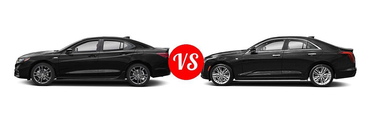 2019 Acura TLX Sedan w/A-SPEC Pkg Red Leather vs. 2021 Cadillac CT4 Sedan Luxury / Sport / V-Series - Side Comparison