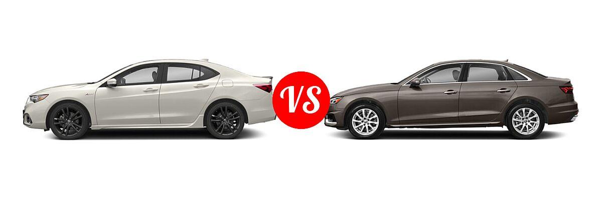 2019 Acura TLX Sedan 2.4L FWD vs. 2020 Audi A4 Sedan Premium / Premium Plus / Prestige - Side Comparison