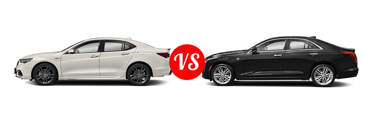 2019 Acura TLX Sedan 3.5L FWD vs. 2021 Cadillac CT4 Sedan Premium Luxury - Side Comparison