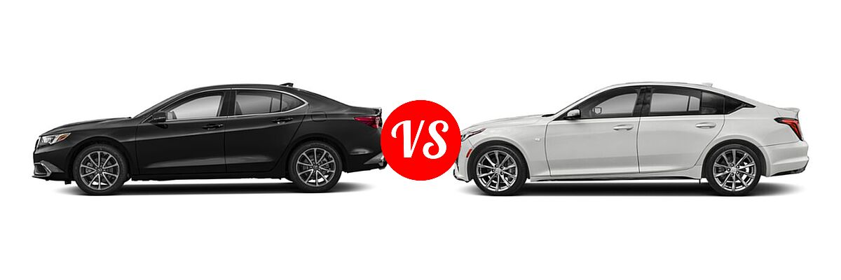 2019 Acura TLX Sedan 3.5L SH-AWD / w/A-SPEC Pkg Red Leather vs. 2020 Cadillac CT5 Sedan Luxury / Premium Luxury / Sport - Side Comparison