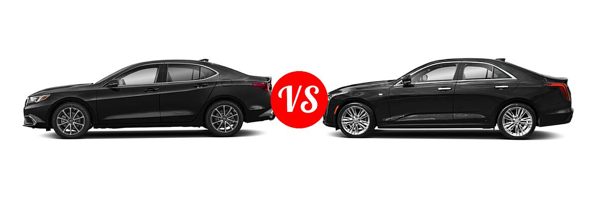 2019 Acura TLX Sedan 3.5L SH-AWD / w/A-SPEC Pkg Red Leather vs. 2021 Cadillac CT4 Sedan Luxury / Sport / V-Series - Side Comparison