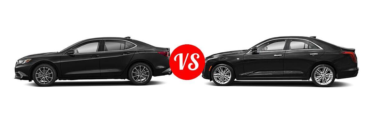 2019 Acura TLX Sedan 3.5L SH-AWD / w/A-SPEC Pkg Red Leather vs. 2021 Cadillac CT4 Sedan Premium Luxury - Side Comparison