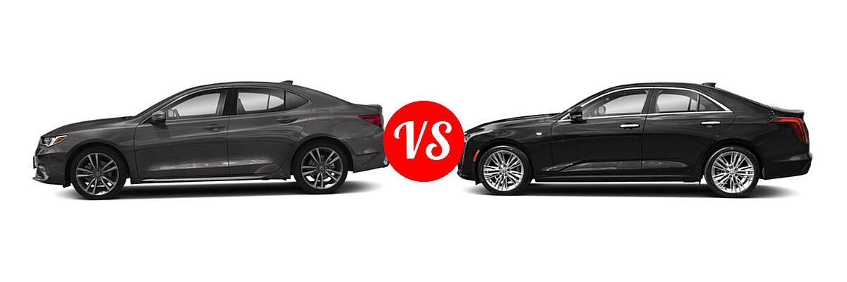 2019 Acura TLX Sedan w/Technology Pkg vs. 2021 Cadillac CT4 Sedan Luxury / Sport / V-Series - Side Comparison