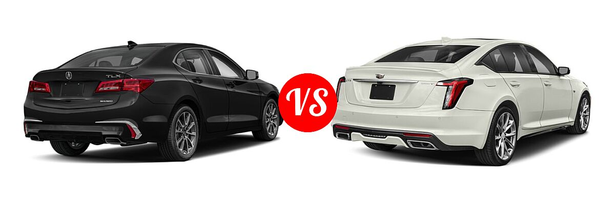 2019 Acura TLX Sedan 3.5L SH-AWD / w/A-SPEC Pkg Red Leather vs. 2020 Cadillac CT5 Sedan Luxury / Premium Luxury / Sport - Rear Right Comparison