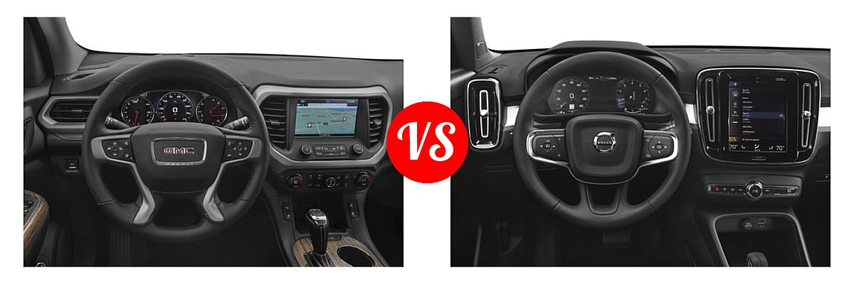 2019 GMC Acadia SUV SL / SLE vs. 2019 Volvo XC40 SUV Momentum / R-Design - Dashboard Comparison