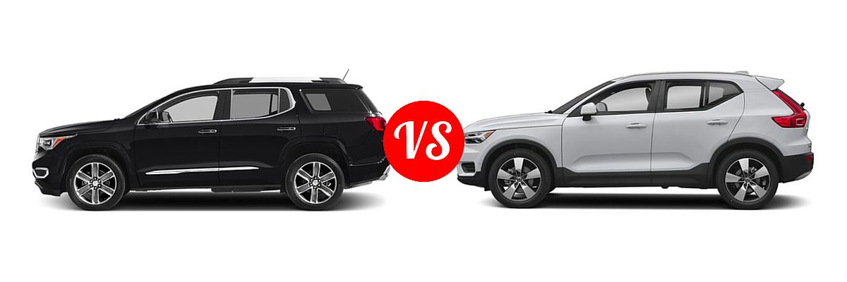 2019 GMC Acadia SUV SL / SLE vs. 2019 Volvo XC40 SUV Momentum / R-Design - Side Comparison