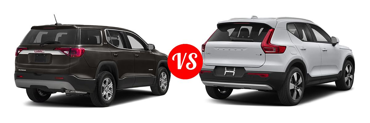 2019 GMC Acadia SUV Denali / SLE / SLT vs. 2019 Volvo XC40 SUV Momentum / R-Design - Rear Right Comparison