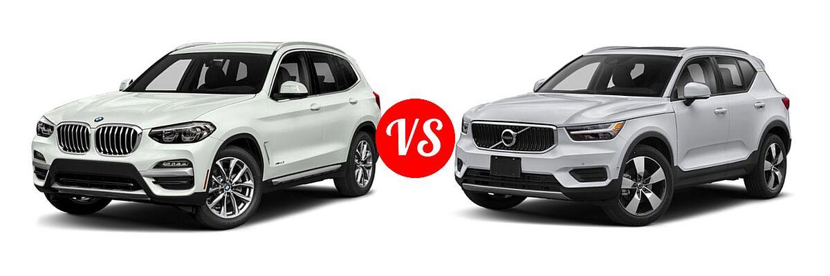 2019 BMW X3 SUV sDrive30i / xDrive30i vs. 2019 Volvo XC40 SUV Momentum / R-Design - Front Left Comparison
